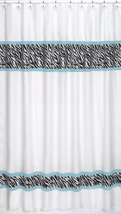 Turquoise Funky Zebra Kids Bathroom Fabric Bath Shower Curtain
