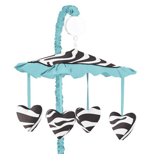 Turquoise Funky Zebra Musical Baby Girls Crib Mobile by Sweet Jojo Designs - Click to enlarge