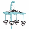 Turquoise Funky Zebra Musical Baby Girls Crib Mobile by Sweet Jojo Designs