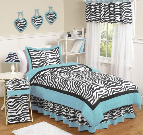 Turquoise Funky Zebra Teen Bedding - 3 pc Full / Queen Set - Click to enlarge