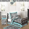 Turquoise Funky Zebra Toddler Bedding - 5pc Set