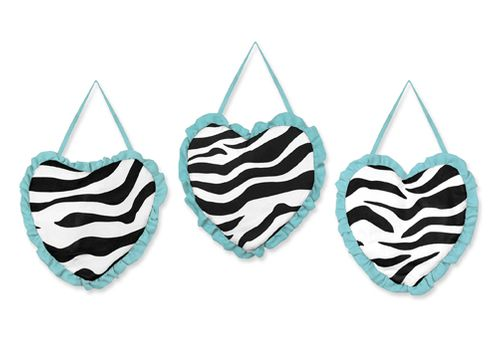 Turquoise Funky Zebra Wall Hanging Accessories by Sweet Jojo Designs - Click to enlarge