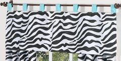 Turquoise Funky Zebra Window Valance by Sweet Jojo Designs