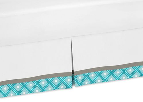 Turquoise Gray and White Queen Bed Skirt for Mod Elephant Bedding Sets by Sweet Jojo Designs - Click to enlarge