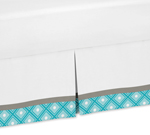 Turquoise Gray and White Queen Bed Skirt for Mod Elephant Bedding Sets by Sweet Jojo Designs