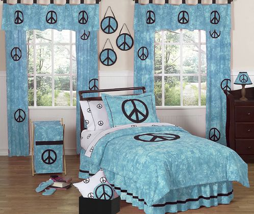 Turquoise Groovy Peace Sign Tie Dye Children's Bedding - 4 pc Twin Set - Click to enlarge