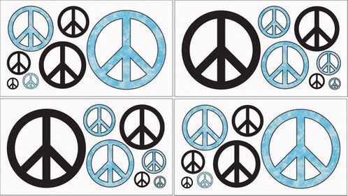Turquoise Groovy Peace Sign Tie Dye Kids and Teens Wall Decal Stickers - Set of 4 Sheets - Click to enlarge