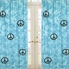 Turquoise Groovy Peace Sign Tie Dye Window Treatment Panels - Set of 2