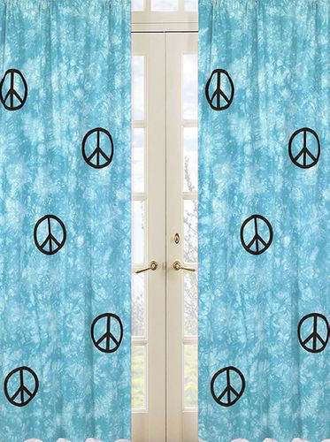 Turquoise Groovy Peace Sign Tie Dye Window Treatment Panels - Set of 2 - Click to enlarge