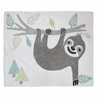 Turquoise Jungle Sloth Accent Floor Rug or Bath Mat by Sweet Jojo Designs - Grey and Green Tropical Leaf Botinical Rainforest for the Aqua Sloth Collection