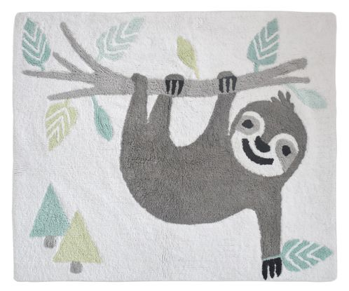 Turquoise Jungle Sloth Accent Floor Rug or Bath Mat by Sweet Jojo Designs - Grey and Green Tropical Leaf Botinical Rainforest for the Aqua Sloth Collection - Click to enlarge
