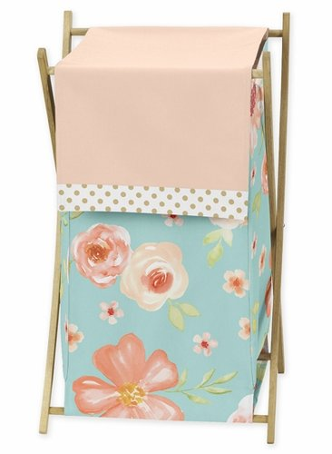 Turquoise, Peach and Gold Baby Kid Clothes Laundry Hamper for Watercolor Floral Collection by Sweet Jojo Designs - Pink Rose Flower - Click to enlarge