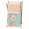 Turquoise, Peach and Gold Baby Kid Clothes Laundry Hamper for Watercolor Floral Collection by Sweet Jojo Designs - Pink Rose Flower