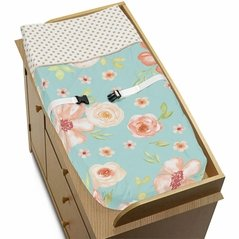 Turquoise, Peach and Gold Changing Pad Cover for Watercolor Floral Collection by Sweet Jojo Designs - Pink Rose Flower