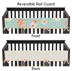 Turquoise, Peach and Gold Long Front Crib Rail Guard Baby Teething Cover Protector Wrap for Watercolor Floral Collection by Sweet Jojo Designs - Pink Rose Flower Polka Dot