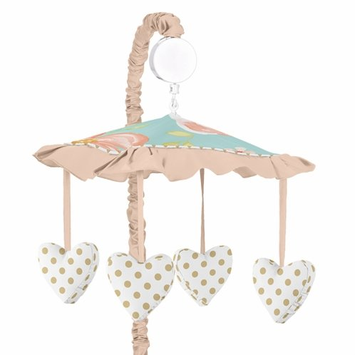 Turquoise, Peach and Gold Musical Baby Crib Mobile for Watercolor Floral Collection by Sweet Jojo Designs- Pink Rose Flower - Click to enlarge