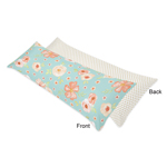 Turquoise, Peach and Gold Polka Dot Body Pillow Case Cover for Watercolor Floral Collection by Sweet Jojo Designs (Pillow Not Included) - Pink Rose flower