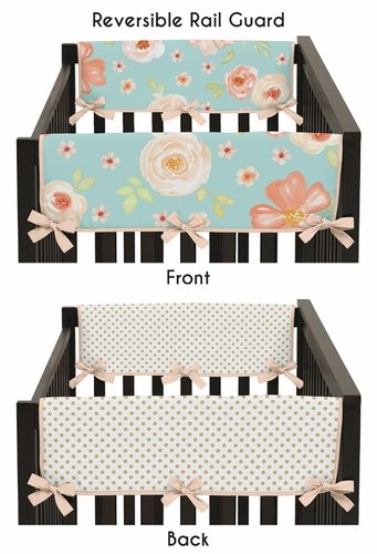 Turquoise, Peach and Gold Side Crib Rail Guards Baby Teething Cover Protector Wrap for Watercolor Floral Collection by Sweet Jojo Designs - Set of 2 - Pink Rose Flower Polka Dot - Click to enlarge
