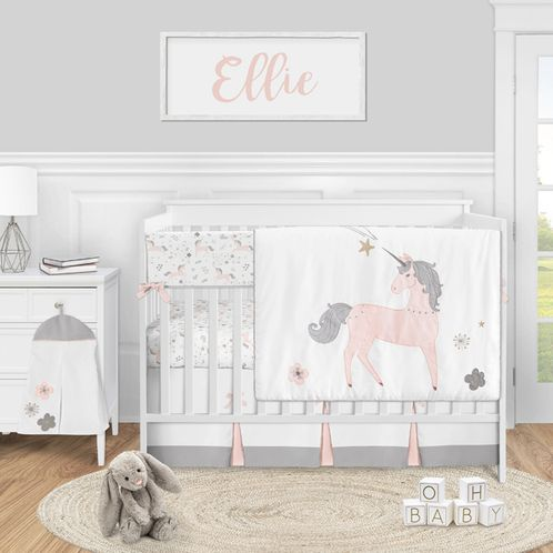 Unicorn Baby Girl Nursery Crib Bedding Set by Sweet Jojo Designs - 5 pieces - Blush Pink Grey and Gold - Click to enlarge