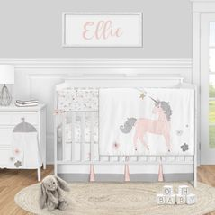 Unicorn Baby Girl Nursery Crib Bedding Set by Sweet Jojo Designs - 5 pieces - Blush Pink Grey and Gold