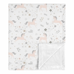 Unicorn Baby Girl Receiving Security Swaddle Blanket for Newborn or Toddler Nursery Car Seat Stroller Soft Minky by Sweet Jojo Designs - Pink, Grey, and Gold