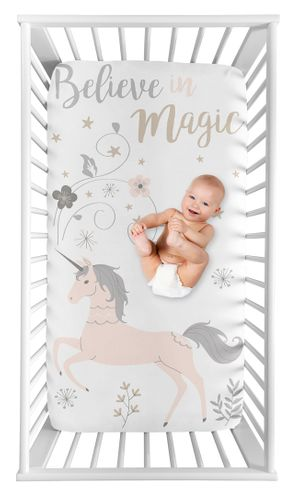Unicorn Girl Fitted Crib Sheet Baby or Toddler Bed Nursery Photo Op by Sweet Jojo Designs - Blush Pink, Grey and Gold Flowers and Stars - Click to enlarge
