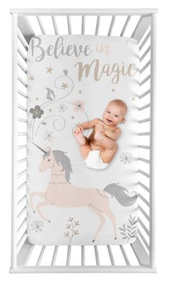Unicorn Girl Fitted Crib Sheet Baby or Toddler Bed Nursery Photo Op by Sweet Jojo Designs - Blush Pink, Grey and Gold Flowers and Stars