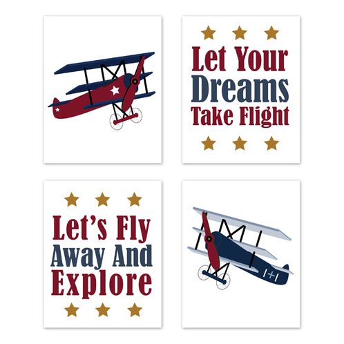 Vintage Airplane Wall Art Prints Room Decor for Baby, Nursery, and Kids by Sweet Jojo Designs - Set of 4 - Red White and Blue Aviator Plane Sky - Click to enlarge