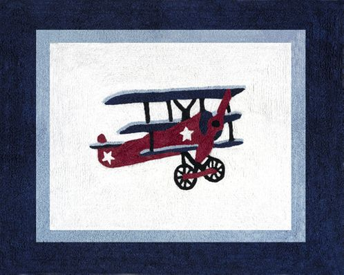 Vintage Aviator Airplane Accent Floor Rug - Click to enlarge