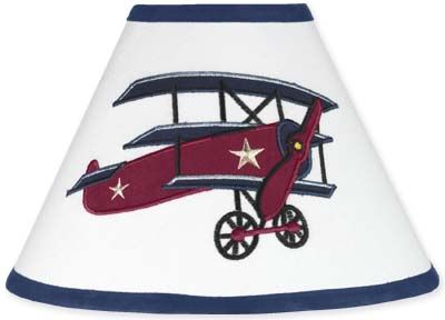 Vintage Aviator Airplane Lamp Shade by Sweet Jojo Designs - Click to enlarge