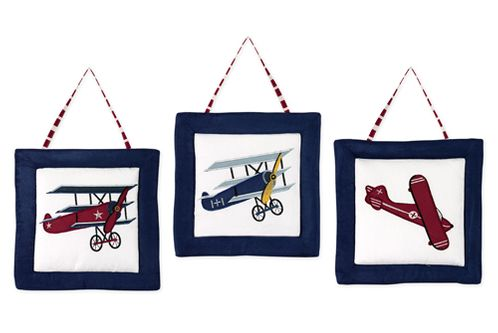 Vintage Aviator Airplane Wall Hanging Accessories by Sweet Jojo Designs - Click to enlarge