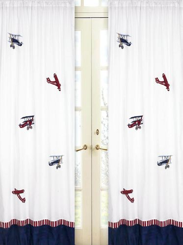 Vintage Aviator Airplanes Window Treatment Panels - Set of 2 - Click to enlarge