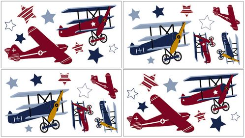 Vintage Aviator Baby and Childrens Airplanes Wall Decal Stickers - Set of 4 Sheets - Click to enlarge