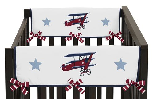 Vintage Aviator Baby Crib Side Rail Guard Covers by Sweet Jojo Designs - Set of 2 - Click to enlarge