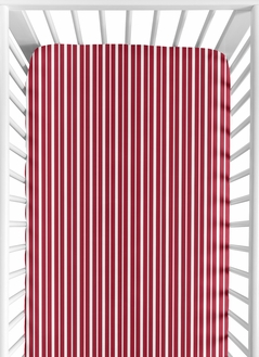 Vintage Aviator Fitted Crib Sheet for Baby and Toddler Bedding Sets by Sweet Jojo Designs - Red Stripe Print