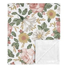 Vintage Floral Baby Girl Receiving Security Swaddle Blanket for Newborn or Toddler Nursery Car Seat Stroller Soft Minky by Sweet Jojo Designs - Blush Pink, Yellow and Green Boho Shabby Chic Rose Flower Farmhouse