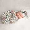 Vintage Floral Boho Baby Girl Cocoon and Beanie Hat 2pc Set Jersey Stretch Knit Sleeping Bag for Infant Newborn Nursery Sleep Wrap Sack by Sweet Jojo Designs - Blush Pink, Yellow, Green, White Shabby Chic Rose Flower Farmhouse
