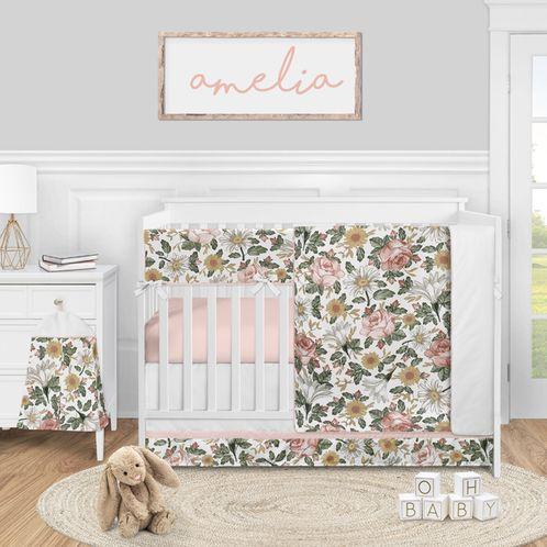 Vintage Floral Boho Baby Girl Nursery Crib Bedding Set by Sweet Jojo Designs - 5 pieces - Blush Pink Yellow and Green White Shabby Chic Rose Flower Farmhouse - Click to enlarge