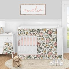 Vintage Floral Boho Baby Girl Nursery Crib Bedding Set by Sweet Jojo Designs - 5 pieces - Blush Pink Yellow and Green White Shabby Chic Rose Flower Farmhouse