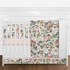 Vintage Floral Boho Baby Girl Nursery Crib Bedding Set with Bumper by Sweet Jojo Designs - 9 pieces - Blush Pink, Yellow, Green and White Shabby Chic Rose Flower Farmhouse