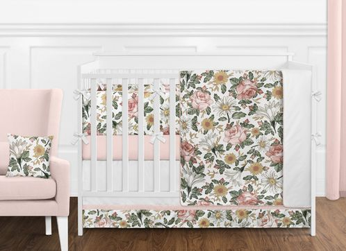Vintage Floral Boho Baby Girl Nursery Crib Bedding Set with Bumper by Sweet Jojo Designs - 9 pieces - Blush Pink, Yellow, Green and White Shabby Chic Rose Flower Farmhouse - Click to enlarge