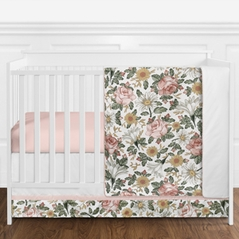 Vintage Floral Boho Baby Girl Nursery Crib Bedding Set without Bumper by Sweet Jojo Designs - 11 pieces - Blush Pink, Yellow, Green and White Shabby Chic Rose Flower Farmhouse