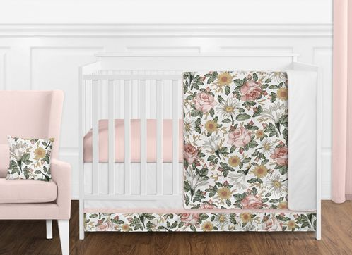 Vintage Floral Boho Baby Girl Nursery Crib Bedding Set without Bumper by Sweet Jojo Designs - 11 pieces - Blush Pink, Yellow, Green and White Shabby Chic Rose Flower Farmhouse - Click to enlarge