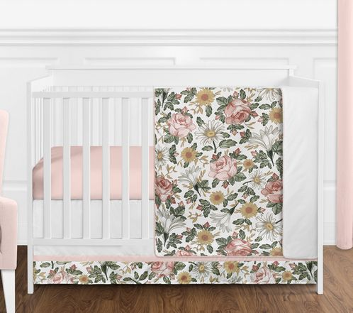 Vintage Floral Boho Baby Girl Nursery Crib Bedding Set without Bumper by Sweet Jojo Designs - 4 pieces - Blush Pink, Yellow, Green and White Shabby Chic Rose Flower Farmhouse - Click to enlarge