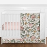 Vintage Floral Boho Baby Girl Nursery Crib Bedding Set without Bumper by Sweet Jojo Designs - 4 pieces - Blush Pink, Yellow, Green and White Shabby Chic Rose Flower Farmhouse