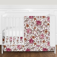 Vintage Floral Boho Baby Girl Nursery Crib Bedding Set without Bumper by Sweet Jojo Designs - 4 pieces - Burgundy, Gold, Taupe, and White Shabby Chic Rose Flower Farmhouse