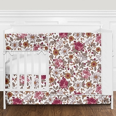 Vintage Floral Boho Baby Girl Nursery Crib Bedding Set without Bumper by Sweet Jojo Designs - 5 pieces - Burgundy, Gold, Taupe, and White Shabby Chic Rose Flower Farmhouse