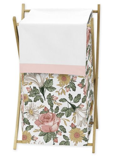 Vintage Floral Boho Baby Kid Clothes Laundry Hamper by Sweet Jojo Designs - Blush Pink, Yellow, Green and White Shabby Chic Rose Flower Farmhouse - Click to enlarge