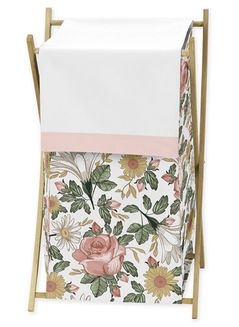 Vintage Floral Boho Baby Kid Clothes Laundry Hamper by Sweet Jojo Designs - Blush Pink, Yellow, Green and White Shabby Chic Rose Flower Farmhouse