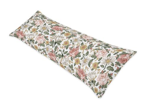 Vintage Floral Boho Body Pillow Case Cover by Sweet Jojo Designs (Pillow Not Included) - Blush Pink, Yellow, Green and White Shabby Chic Rose Flower Farmhouse - Click to enlarge